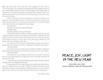 2005 Anniversary Holiday Card -inside; text by KR
