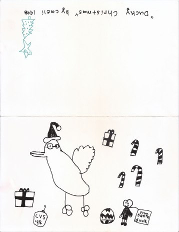Duck Christmas, 1998; drawing by Caeli