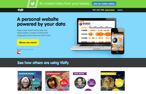 vizify infographic interactive screenshot