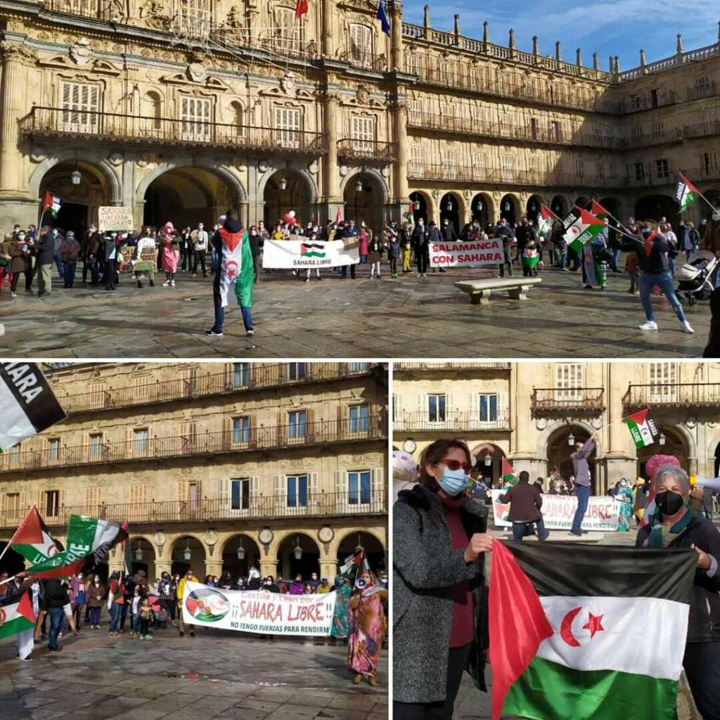 Rimal con el Pueblo saharaui desde la plaza Mayor de Salamanca