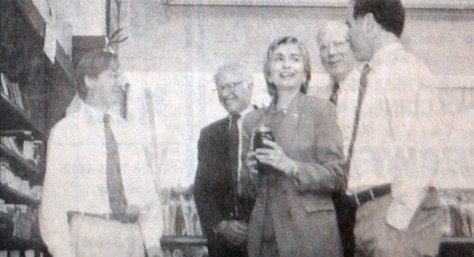 Original caption: At Gillinghams, Hillary met with store manager Jireh Billings, left. Pols from left are Bernie Sanders, Pat Leahy and Gov. Dean as published June 24, 1993. (Rick Russell/ Vermont Standard)