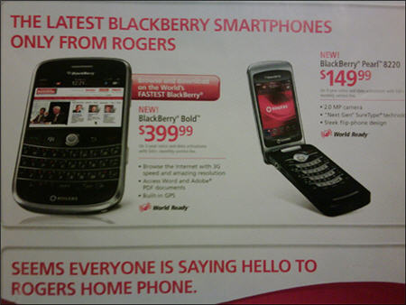 Rogers Is Advertising The BlackBerry Pearl 8220