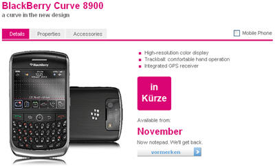 "BlackBerry Curve 8900 ""Javelin"" Up On T-Mobile Germany's Site"