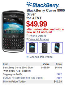 AT&T BlackBerry Curve 8900 $49.99 On Amazon and Newegg