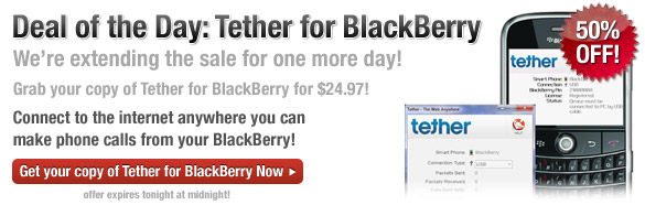 Tether For BlackBerry 50% Off 1-Day Sale Extended Through July 1st