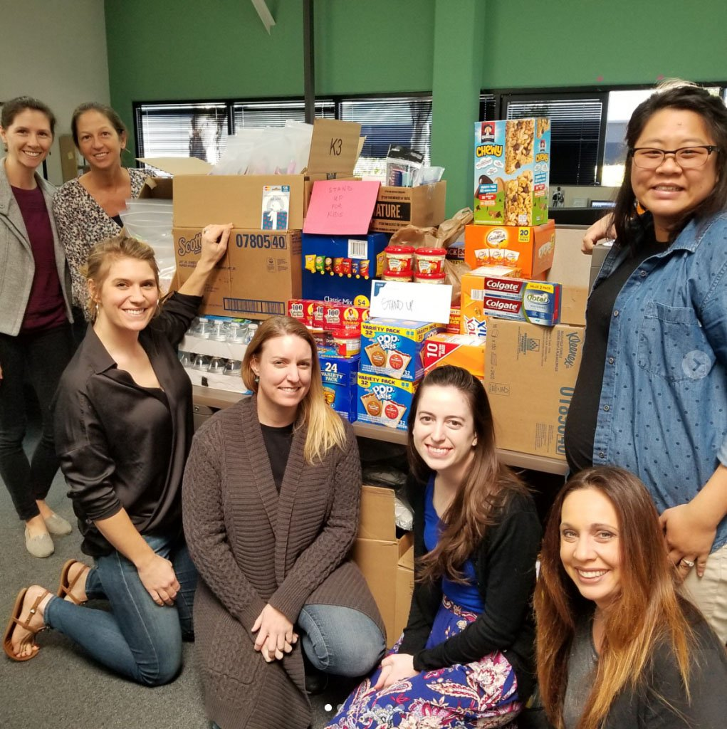 Group of women with donations to a local charity.