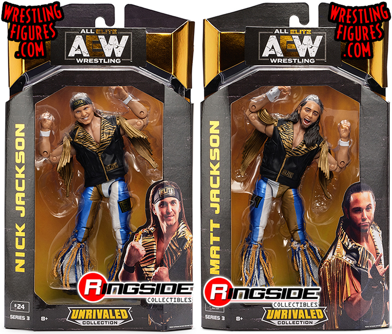 Package Deal Set Of 2 Young Bucks Nick Matt Jackson Aew Unrivaled 3 Toy Wrestling Action Figure By Wicked Cool Toys
