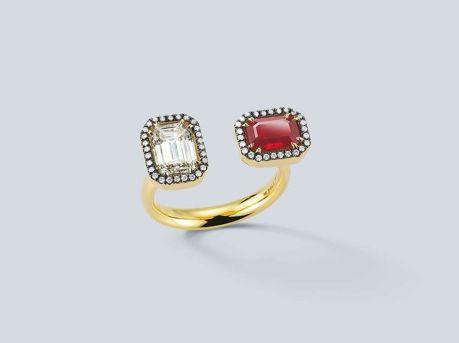 emerald cut diamond кольцо с рубином и бриллиантом