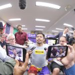 Manny Pacquiao among boxing media at a presser touting his July 20 bout versus WBA welterweight titlist Keith Thurman. Photo by Jhay Oh Otamias
