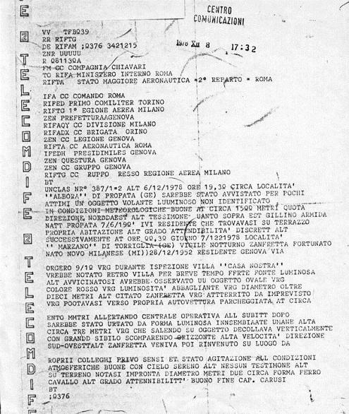 Il telex inviato ai ministeri dal comando Carabinieri di Chiavari