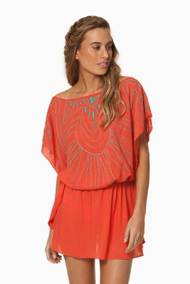 Solid Peach Butterfly Caftan