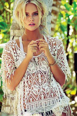 Simone Natural Crochet Poncho NATURAL