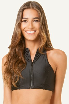 Black Open Back Halter Top