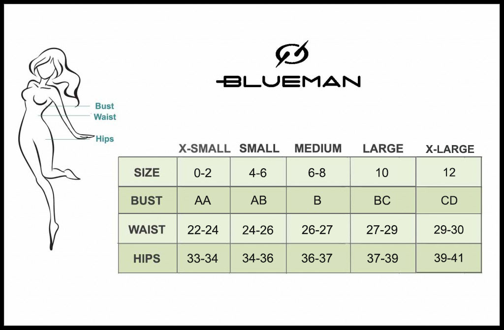 Blue Man Size Guide