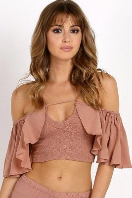 Dusty Rose Roxy Flounce Top