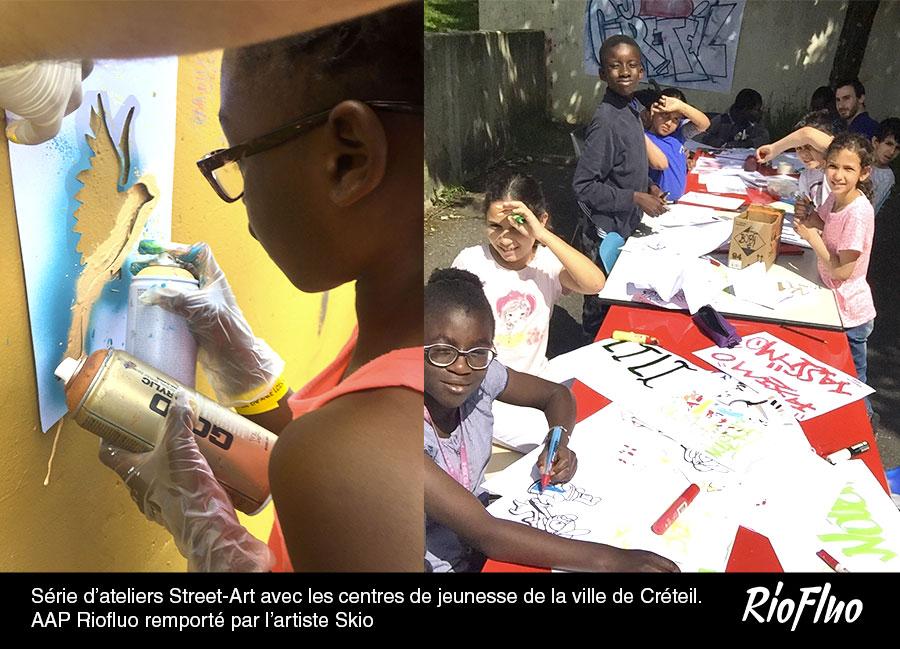 Série d'ateliers Street-Art-avec les centres de jeunesse de la ville de Créteil. Appel à projet Riofluo remporté par l'artiste-Skio