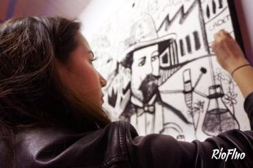 L'agence Haloween a fait appel à Riofluo pour mettre en place une animation artistique & participative pour les 150 ans de la marque Jack Daniel's à Paris. Nous avons créé une animation participative encadrée par l'artiste Joris Del. Cette création s'inspire du process d'affinage du whisky Jack Daniel's par filtration au charbon ; ainsi le public pouvait dessiner uniquement au carbone sur une toile collective. A la fin de la soirée, cette fresque est devenue un photocall sur lequel est venu s'ajouter le logo de la marque. Jack Daniel's, Whisky, Alcool, œuvre participative, soirée, Paris, photocall, street-art