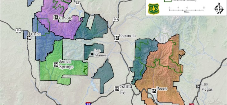 map of the Santa Fe National Forest