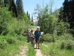 On the trail (Nancy in front)