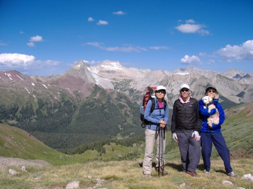 Olivia, Larry, Lolina and Lily on Buckhorn Pass -- our fourth and last pass.
