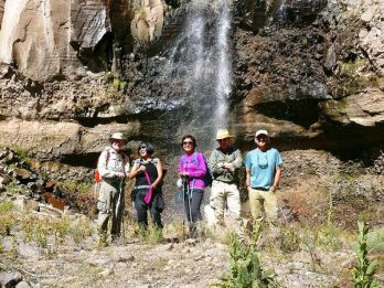 Aku, CK, Olivia, Jeremy, and Gustavo at Lower Frijoles Falls