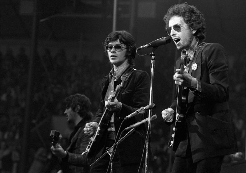 Rick Danko, Robbie Robertson and Bob Dylan