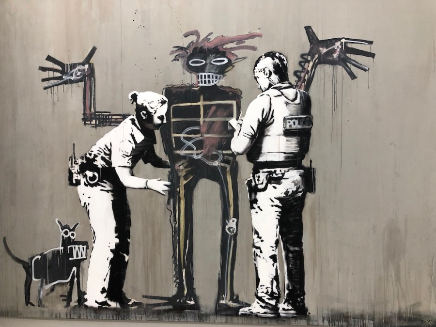 "Banksy, ""Boy and Dog in a Stop and Search,"""