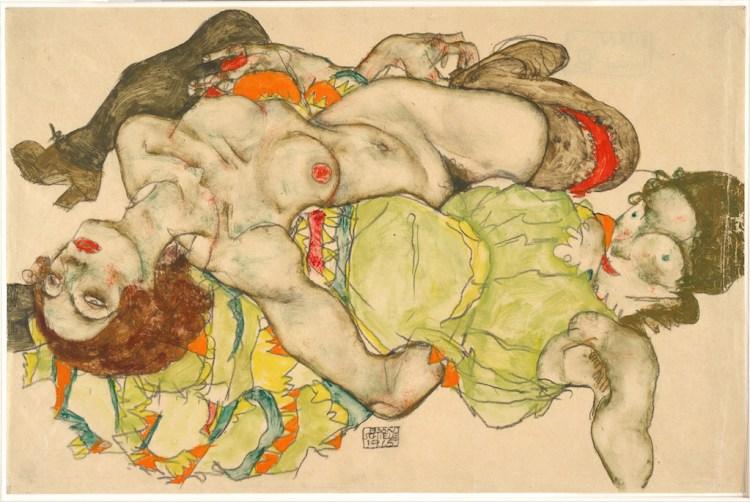 Egon Schiele,Female Lovers, 1915