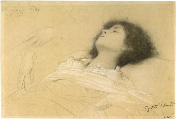 Gustav Klimt:Reclining Girl (Juliet) and Two Studies of Hands, 1886–1887