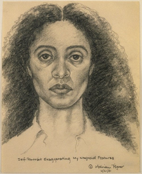 Adrian Piper, Self-Portrait Exaggerating My Negroid Features, 1981.