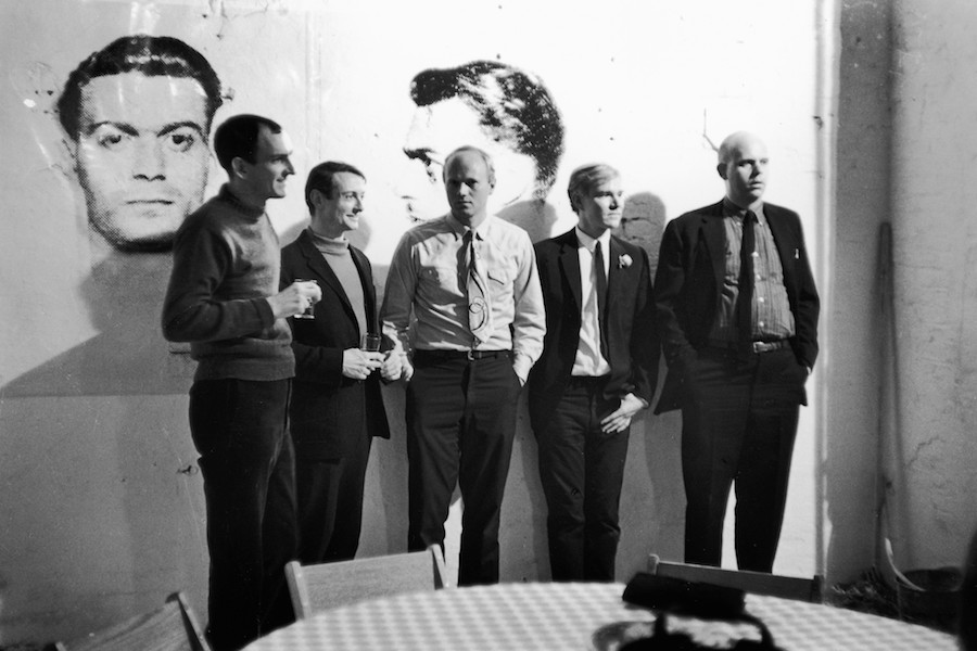 Fred W. McDarrah: Pop artists Tom Wesselmann, Roy Lichtenstein, James Rosenquist, Andy Warhol, and Claes Oldenburg at Warhol's Factory, 231 East Forty‑Seventh Street (its first location, until 1967), April 21, 1964