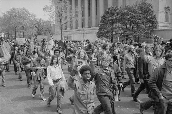 """Warren K. Leffler. """"Protestors Outside the Justice Building, 1971."""""""
