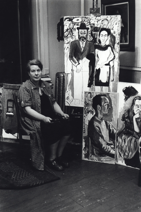 Fred W. McDarrah: Alice Neel in Her Studio, East Harlem, with Milton Resnick, Pat Passlof and Frank O'Hara in Paintings, February 1, 1961