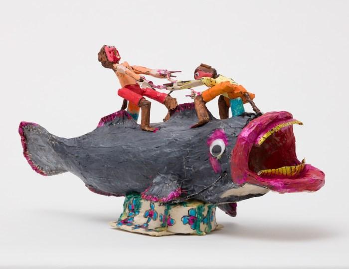 Willard Hill, Untitled (Two Figures Riding Catfish)
