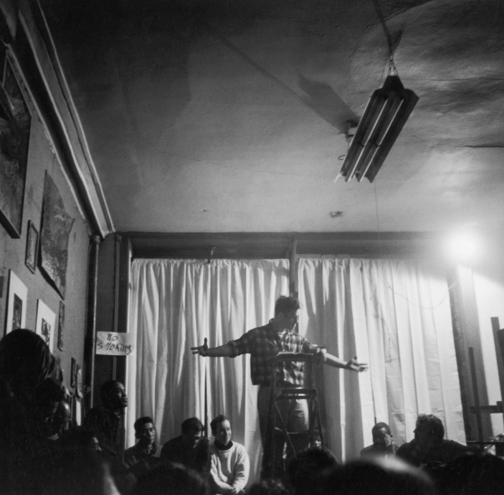 Fred W. McDarrah: Jack Kerouac reads poetry at the Artist's Studio, 48 East Third Street, February 15, 1959 Vintage gelatin silver print, printed ca. 1959