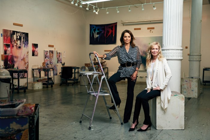 The Price of Everything producers Debi Wisch and Jennifer Stockman in Marilyn Minter's studio