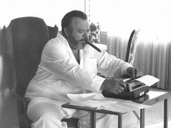 Orson Welles working on the script for The Other Side of the Wind in August 1970. Reviewed at Riot Material magazine.