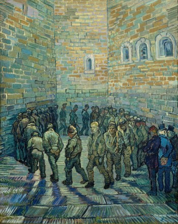 Vincent van Gogh, Prisoners Exercising (Taking the Air in a Prison Yard). A review of Van Gogh and Britain, at Tate London, is at Riot Material Magazine.
