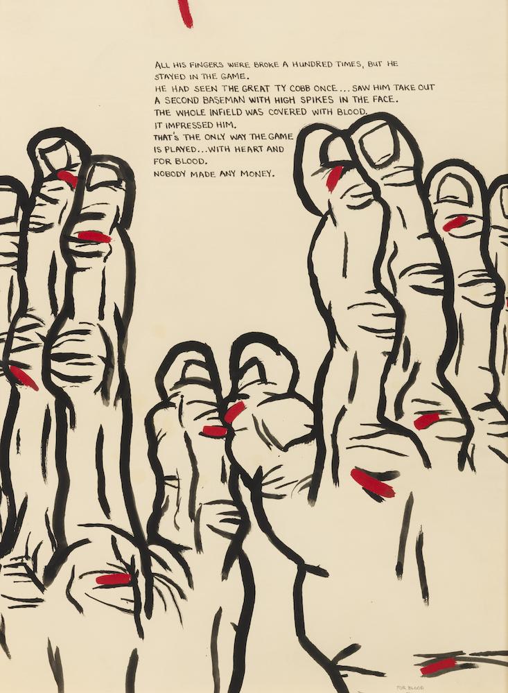 """Terry Allen's For Blood (""""Dugout"""" Set IV, #7), at Riot Material, LA's premier art magazine."""