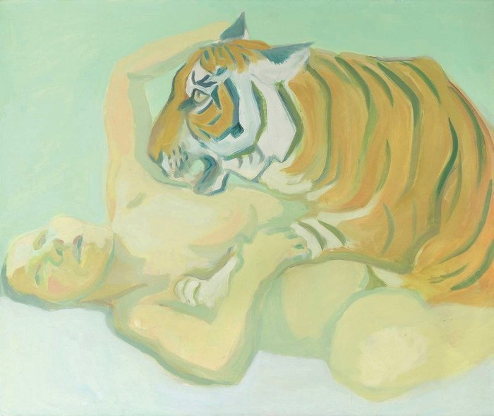 Maria Lassnig's Sleeping with Tiger. At Riot Material, LA's premier magazine for art.