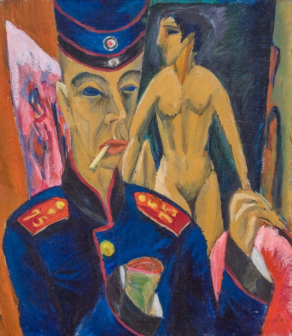 Ernst Ludwig Kirchner, Self-Portrait as a Soldier, 1915. A review of Kirchner's exhibition at Neue Museum, NYC, is at Riot Material, LA's premier art magazine.