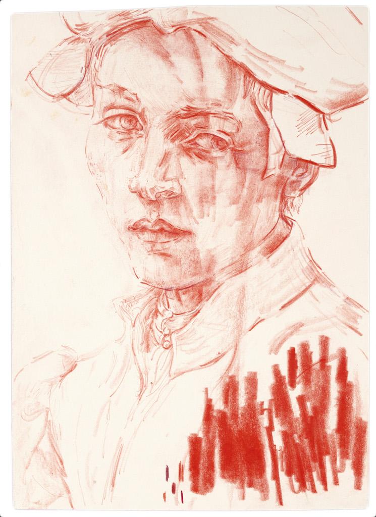 After Michelangelo by Elizabeth Peyton, 2017.