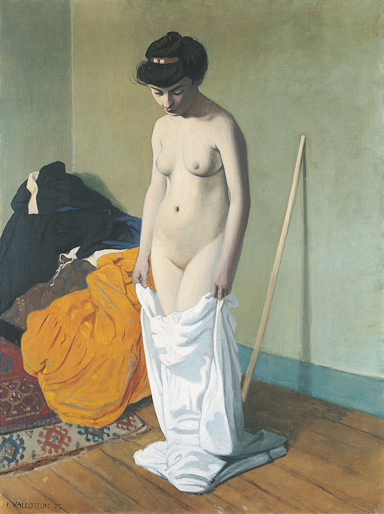 """Félix Vallotton, Nude Holding Her Gown, 1904. The Met's """"Painter of Disquiet is reviewed at Riot Material magazine."""