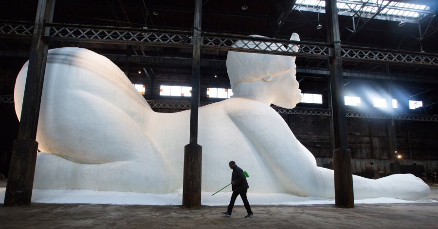 Kara Walker's Sugar Baby, at the Domino Sugar Factory in Williamsburg, Brooklyn.
