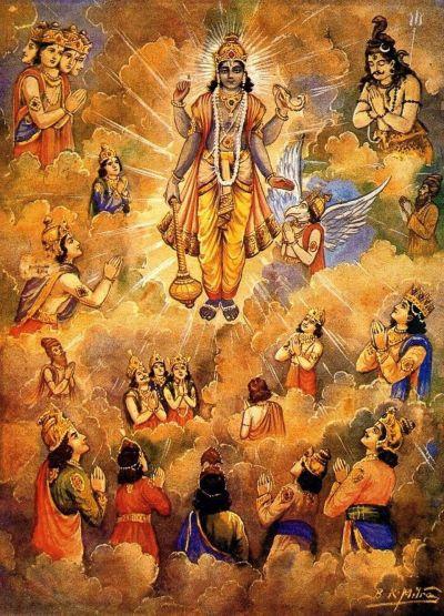 Lord Krishna and the Devas
