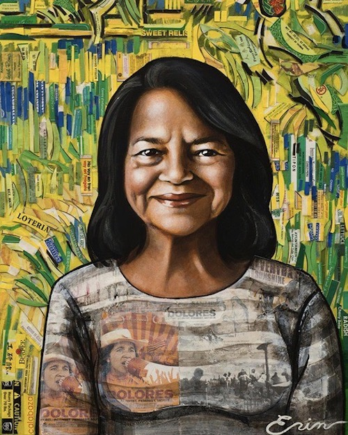 Erin Currier, Dolores Huerta (As Van Gogh's Gardener). Read the interview with Erin excerpted from Lisette Garcia's new book, Ponderosas, at Riot Material.