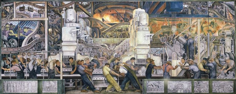 Diego Rivera, Lower panel of Detroit Industry, North Wall, 1932–33