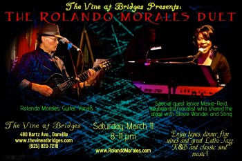 Rolando Morales is joined by Janice Maxie-Reid of Stevie Wonder and Sting fame at The Vine at Bridges