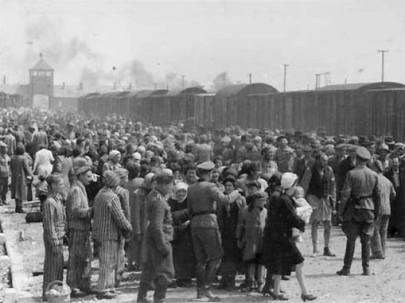 Hungarian Jews arriving at camp being separated