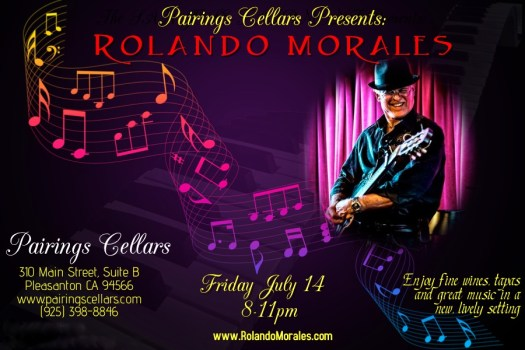 Rolando Morales performs at Pairings Cellars on July 14